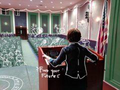 Speaker at podium addressing digital people. Caption reads find your future
