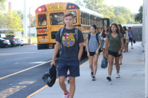 Students arrive on first day
