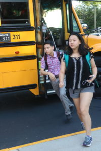 Students arrive to school on first day