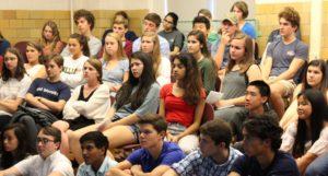 Students at meeting - History Honor Society