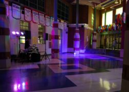 Student Commons with special lighting for dance night