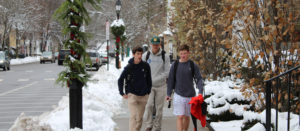 Students walking in snow in Cooperstown NY