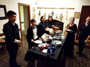 Students enjoy refreshments at Governor's mansion