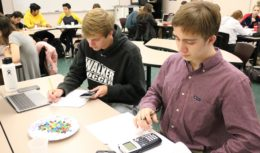 Students testing in a classroom