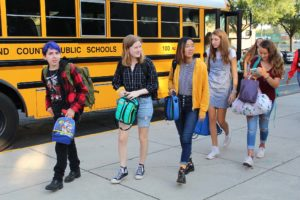 Students arriving for school