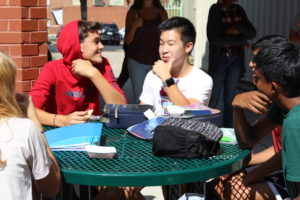 Students outside at table